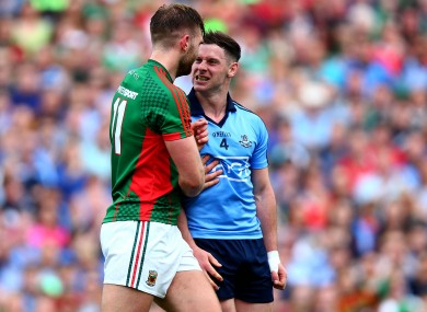 Philly McMahon and Aidan O'Shea square off during the drawn All-Ireland semi-final.