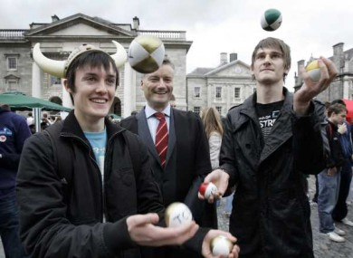 Students at freshers' week in Trinity College. TCD remains Ireland's top university, followed by UCD, UCC and NUI Galway.