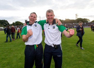 Limerick boss John Kiely (right) with coach John Flavin.