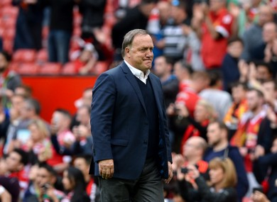 Dick Advocaat shows his frustration on the touchline today.