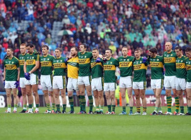 The Kerry team lining up before their clash with Tyrone.
