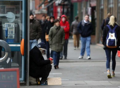A man begging on the streets of Dublin