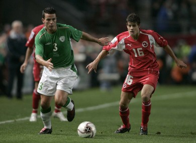 Ian Harte and Tranquillo Barnetta when the teams last met in 2005.