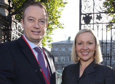 Keith Redmond with Renua leader Lucinda Creighton outside Leinster House this morning