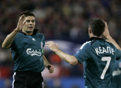 Steven Gerrard and Robbie Keane were team-mates briefly at Liverpool.