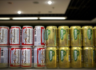 SABMiller and InBev brands in a Beijing supermarket