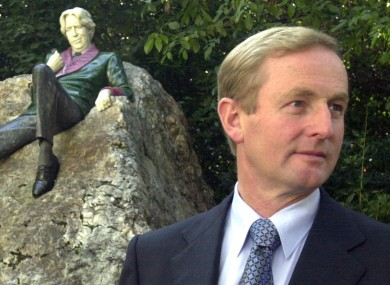 Enda Kenny in front of the statue of Oscar Wilde in Dublin's Merrion Square. There will be no statues in the Taoiseach's honour, Kenny said today.