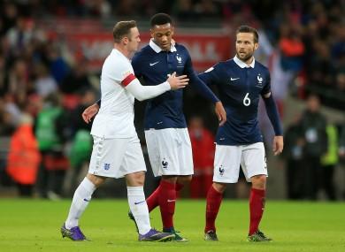 Martial and club mate Wayne Rooney alongside Crystal Palace midfielder Yohan Cabaye at Wembley last night.