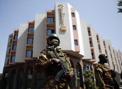 Tight security surrounded Malian President Ibrahim Boubacar Keita as he visited the Radisson Blu hotel in Bamako on Saturday.