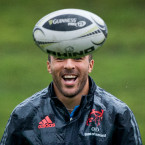 All smiles! Simon Zebo enjoys himself during Munster training in Limerick.<span class=
