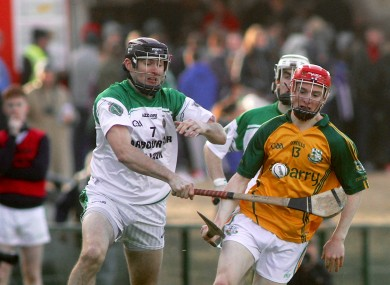 Thomas Monaghan of Craughwell with Eamon Cleary of Sarsfields.