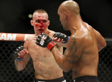 Rory MacDonald and Robbie Lawler in action during their welterweight title bout at UFC 189 back in July.