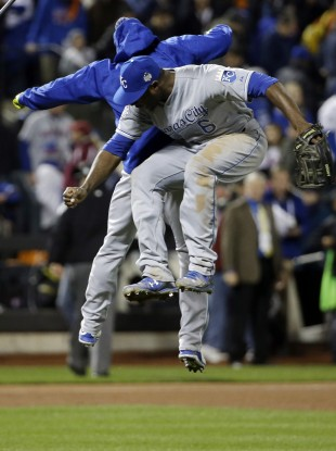 Lorenzo Cain of the Royals celebrates.