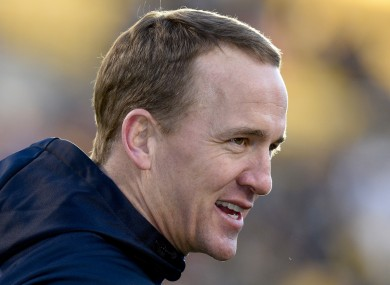 Denver Broncos quarterback Peyton Manning before an NFL football game.