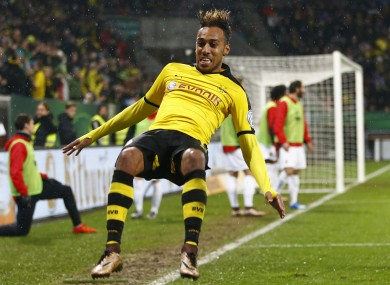 Dortmund's Pierre-Emerick Aubameyang celebrates after scoring his side's opening goal.