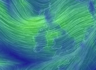 The wind picture off Ireland on Friday.