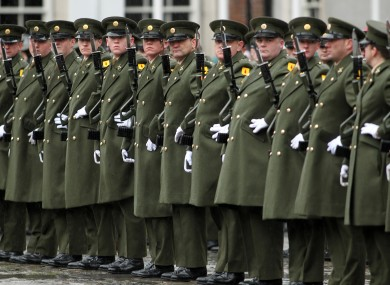 Irish soldiers at an event in Dublin Castle to mark the start of the state ceremonial programme to mark the 1916 centenary.
