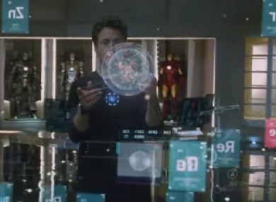 Tony Stark works with his Jarvis system in the Iron Man movie series.