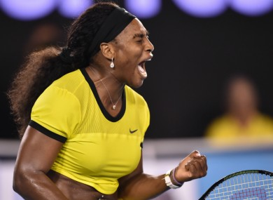 On the march: World number one Serena Williams.