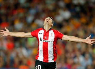 Athletic Bilbao's Aritz Aduriz celebrates after scoring.