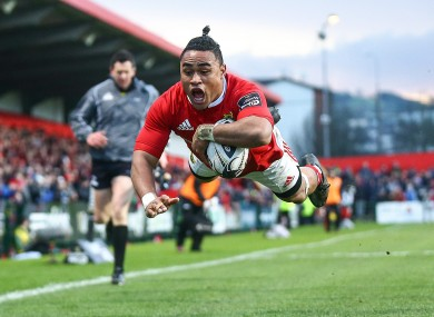 Francis Saili scores Munster's second try.
