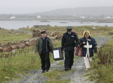 Electoral officer Hugh O' Donnell, left, and Garda Brendan McCann deliver the Lisbon referendum ballot box on Inishfree Island in 2009.
