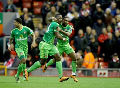 Sunderland's Jermain Defoe (right) celebrates scoring his side's second goal of the game with team-mate Lamine Kone.