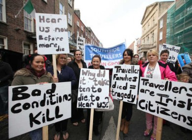 A Traveller protest outside Leinster House last October