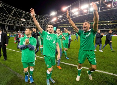 Hoolahan, Brady and Walters after Ireland's qualification.