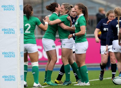 Miller celebrates her first try.