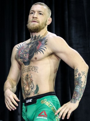Conor McGregor at Wednesday's open workouts in Las Vegas.