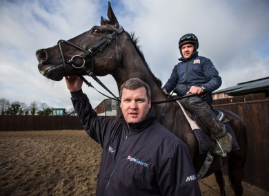 Trainer Gordon Elliott with jockey Simon McGonagle and stable star Don Cossack.