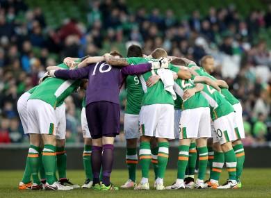 Ireland team huddle ahead of the Slovakia game.