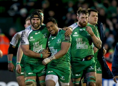 John Muldoon and Bundee Aki celebrate after the game.