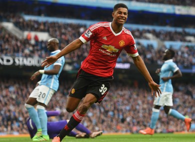 Marcus Rashford after scoring in the Manchester derby