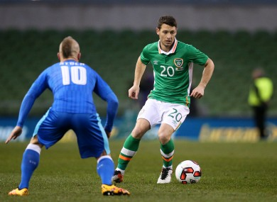 Republic of Ireland's Wes Hoolahan and Slovakia's Miroslav Stoch (left) battle for the ball last night.