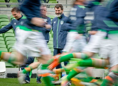 Assistant manager Roy Keane oversees training at Lansdowne Road.