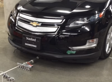 That's not some weird rake underneath the car. That's a team of micobots pulling it.