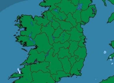 Met Éireann's latest rainfall radar