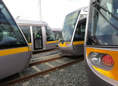 Parked Luas trams