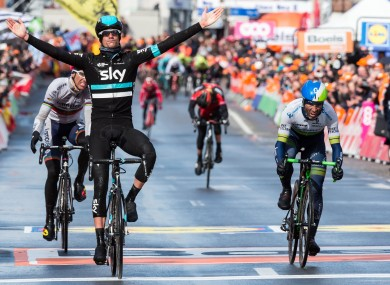 Wouter Poels of Team Sky celebrates as he crosses the finish line.