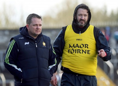Clare boss Davy Fitzgerald with coach Donal Óg Cusack