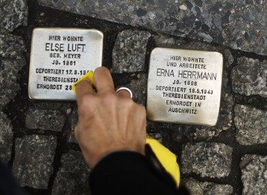 'Stolperstein' or stumbling stones outside the home of a Holocaust victim.