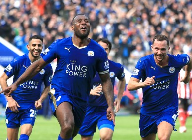 Leicester City's Wes Morgan (centre) celebrates scoring the winner against Southampton on Sunday.