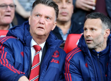 Manchester United manager Louis van Gaal with assistant Ryan Giggs during last night's match.