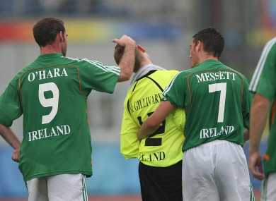 O'Hara and team mates during the Ireland / Iran match at the Beijing Paralympic Games 2008.