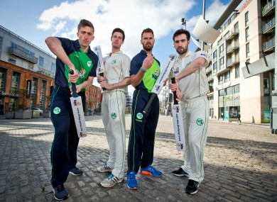 Ireland internationals Peter Chase, George Dockrell, Max Sorensen and Andrew Balbirnie at this morning's launch.