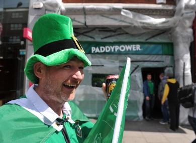 An Irish fan outside the Aviva Stadium in Dublin