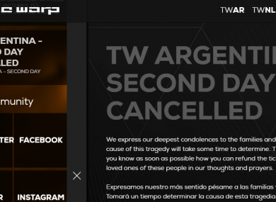 A statement on the website of the Time Warp festival