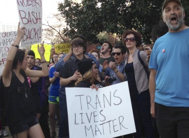 LGBT activists protesting in North Carolina last month